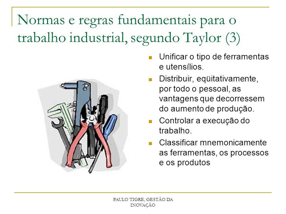 PAULO TIGRE, GESTÃO DA INOVAÇÃO Normas e regras fundamentais para o trabalho industrial, segundo Taylor (3) Unificar o tipo de ferramentas e utensílio