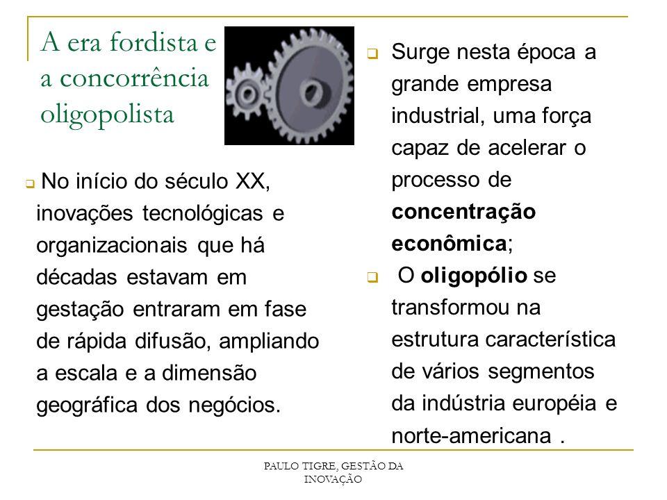 PAULO TIGRE, GESTÃO DA INOVAÇÃO A era fordista e a concorrência oligopolista No início do século XX, inovações tecnológicas e organizacionais que há d