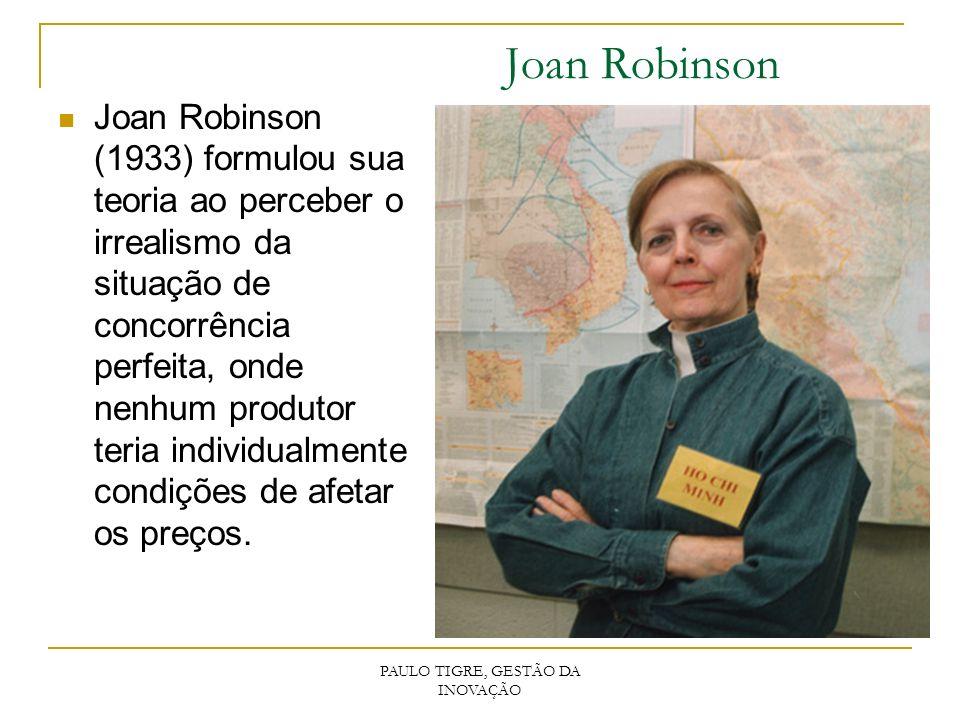 Joan Robinson Joan Robinson (1933) formulou sua teoria ao perceber o irrealismo da situação de concorrência perfeita, onde nenhum produtor teria indiv