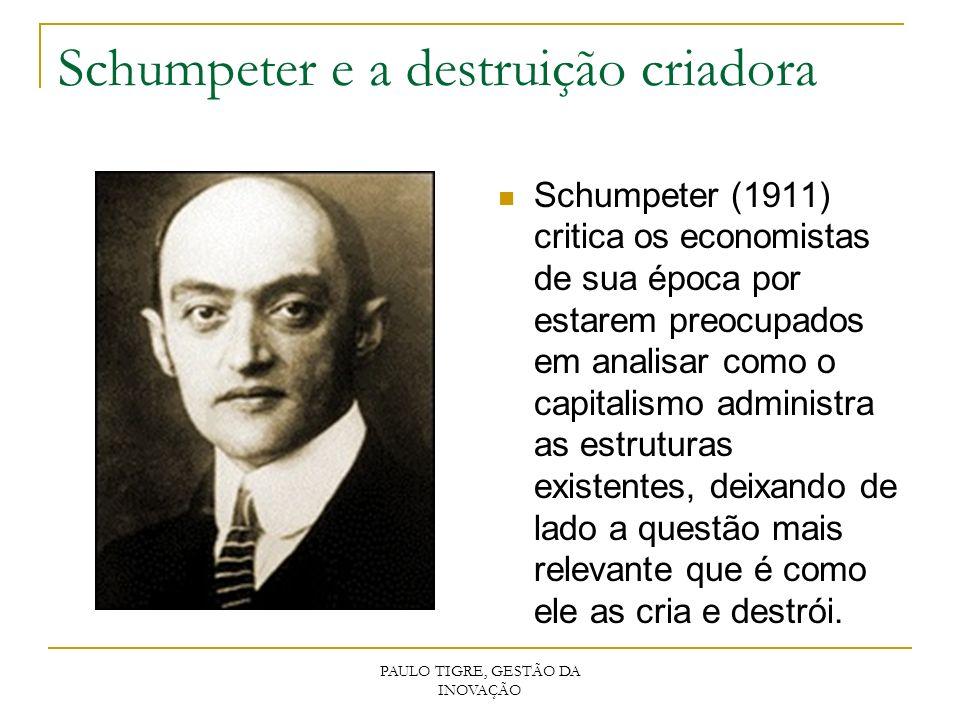 PAULO TIGRE, GESTÃO DA INOVAÇÃO Schumpeter e a destruição criadora Schumpeter (1911) critica os economistas de sua época por estarem preocupados em an