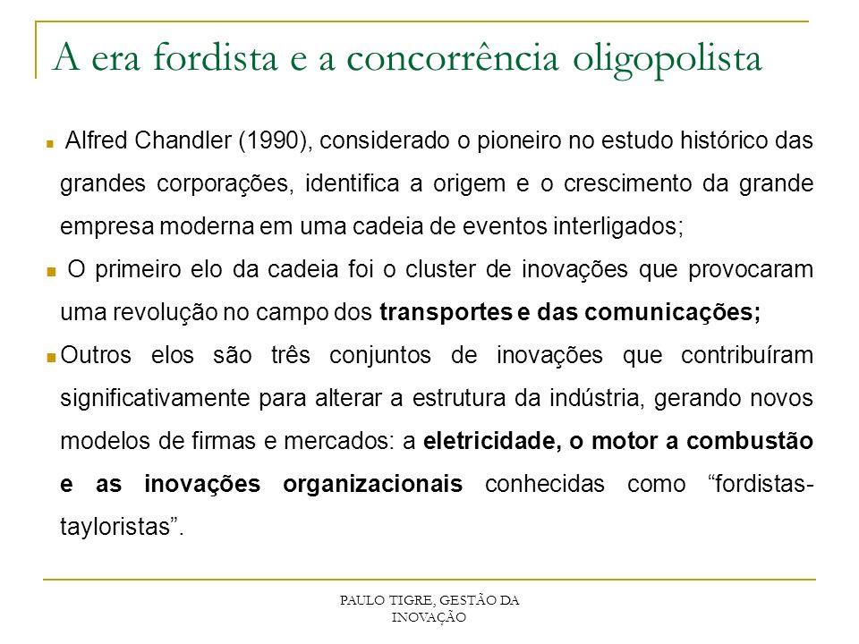 PAULO TIGRE, GESTÃO DA INOVAÇÃO A era fordista e a concorrência oligopolista Alfred Chandler (1990), considerado o pioneiro no estudo histórico das gr