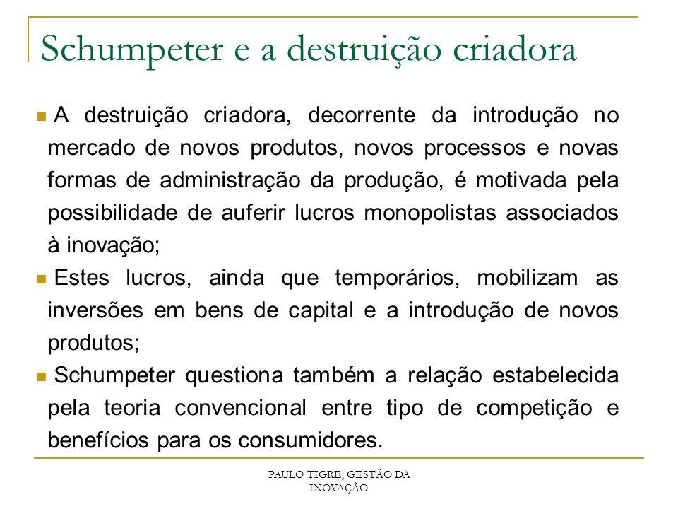 PAULO TIGRE, GESTÃO DA INOVAÇÃO Schumpeter e a destruição criadora A destruição criadora, decorrente da introdução no mercado de novos produtos, novos