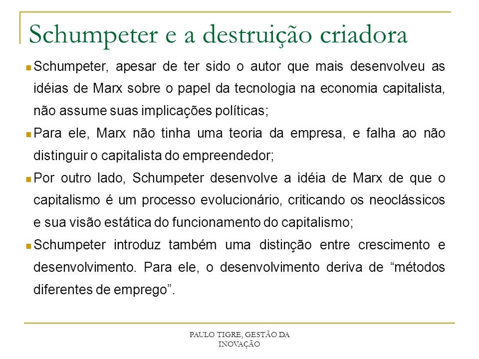 PAULO TIGRE, GESTÃO DA INOVAÇÃO Schumpeter e a destruição criadora Schumpeter, apesar de ter sido o autor que mais desenvolveu as idéias de Marx sobre