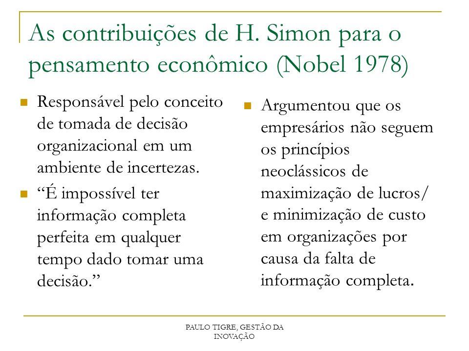 As contribuições de H. Simon para o pensamento econômico (Nobel 1978) Responsável pelo conceito de tomada de decisão organizacional em um ambiente de
