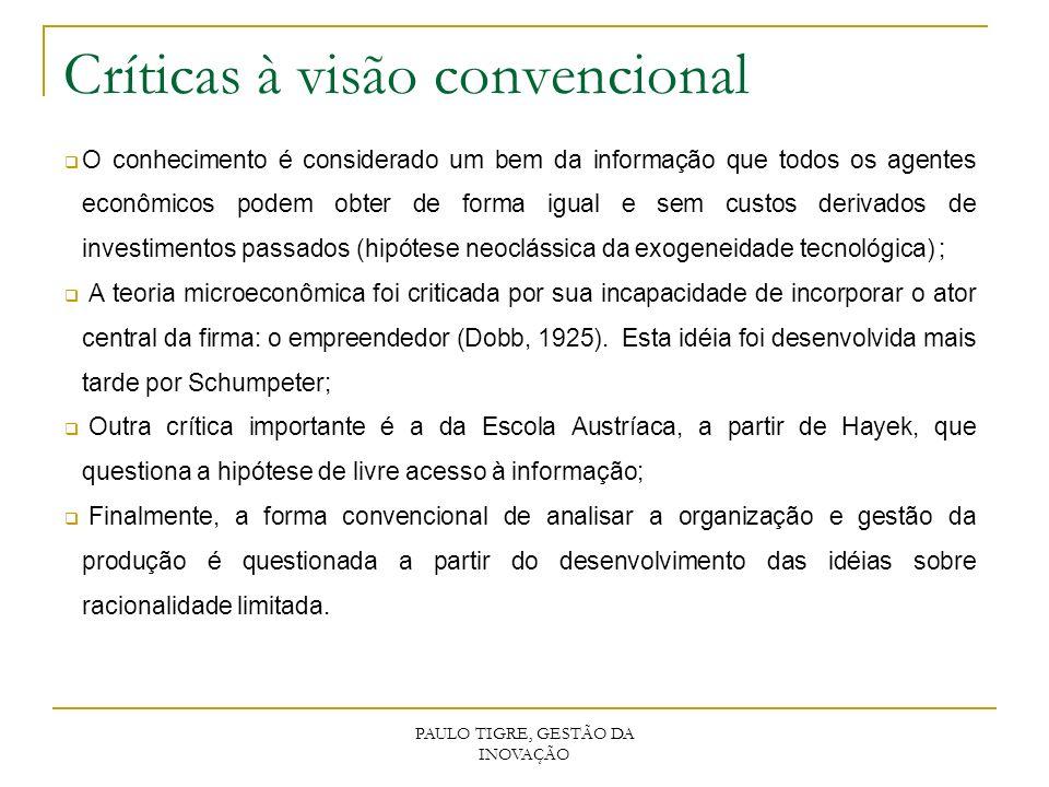 PAULO TIGRE, GESTÃO DA INOVAÇÃO Críticas à visão convencional O conhecimento é considerado um bem da informação que todos os agentes econômicos podem