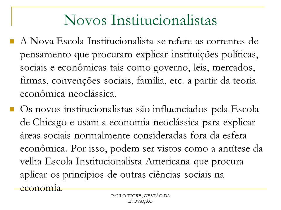Novos Institucionalistas A Nova Escola Institucionalista se refere as correntes de pensamento que procuram explicar instituições políticas, sociais e