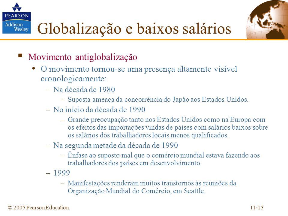 11-15© 2005 Pearson Education Movimento antiglobalização O movimento tornou-se uma presença altamente visível cronologicamente: –Na década de 1980 –Su