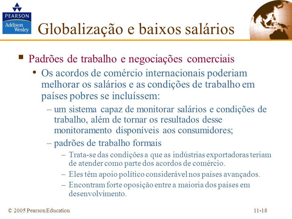 11-18© 2005 Pearson Education Padrões de trabalho e negociações comerciais Os acordos de comércio internacionais poderiam melhorar os salários e as co
