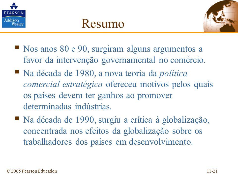 11-21© 2005 Pearson Education Resumo Nos anos 80 e 90, surgiram alguns argumentos a favor da intervenção governamental no comércio. Na década de 1980,