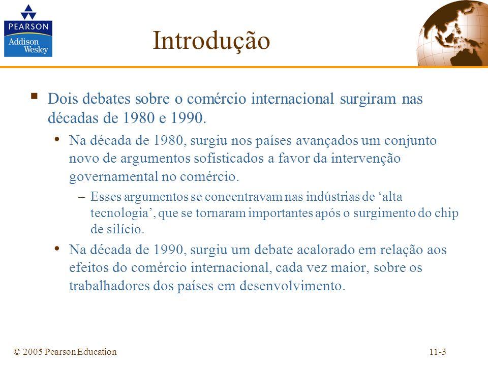 11-3© 2005 Pearson Education Introdução Dois debates sobre o comércio internacional surgiram nas décadas de 1980 e 1990. Na década de 1980, surgiu nos