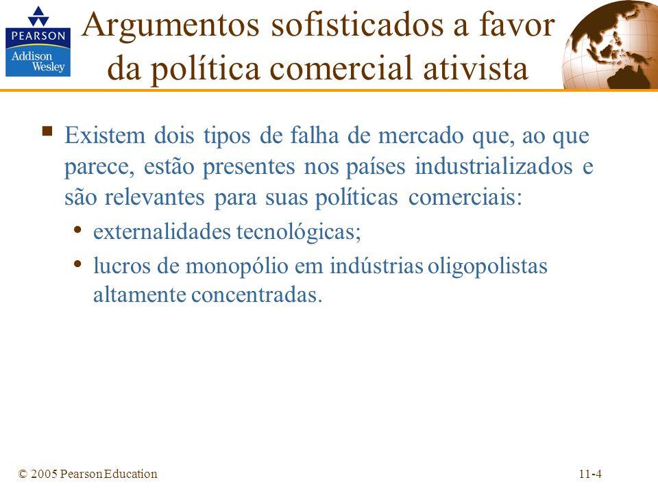 11-4© 2005 Pearson Education Argumentos sofisticados a favor da política comercial ativista Existem dois tipos de falha de mercado que, ao que parece,