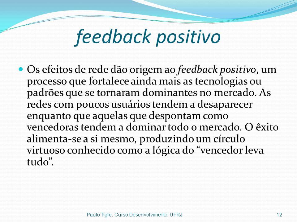 feedback positivo Os efeitos de rede dão origem ao feedback positivo, um processo que fortalece ainda mais as tecnologias ou padrões que se tornaram d