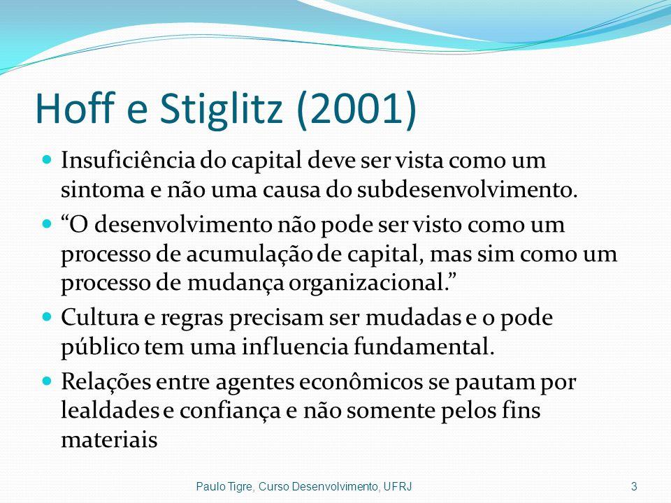 Hoff e Stiglitz (2001) Insuficiência do capital deve ser vista como um sintoma e não uma causa do subdesenvolvimento. O desenvolvimento não pode ser v