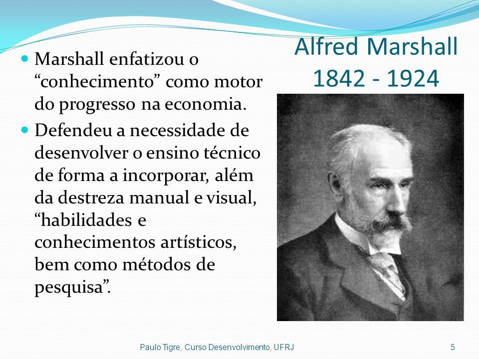 Alfred Marshall 1842 - 1924 Paulo Tigre, Curso Desenvolvimento, UFRJ5 Marshall enfatizou o conhecimento como motor do progresso na economia. Defendeu