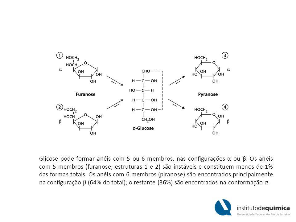 Glicose pode formar anéis com 5 ou 6 membros, nas configurações α ou β. Os anéis com 5 membros (furanose; estruturas 1 e 2) são instáveis e constituem