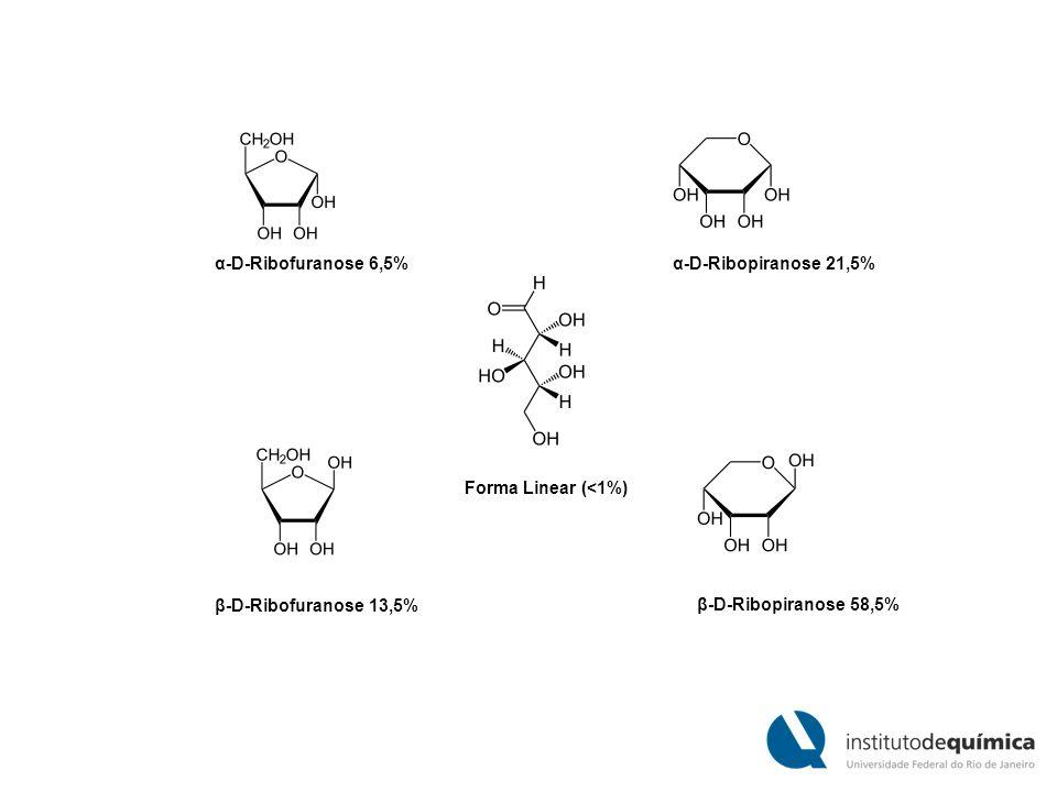 Forma Linear (<1%) β-D-Ribofuranose 13,5% α-D-Ribofuranose 6,5% β-D-Ribopiranose 58,5% α-D-Ribopiranose 21,5%