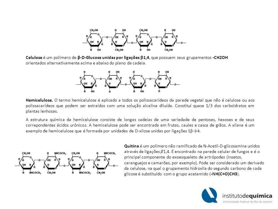 Celulose é um polímero de β-D-Glucose unidas por ligações 1,4, que possuem seus grupamentos -CH2OH orientados alternativamente acima e abaixo do plano