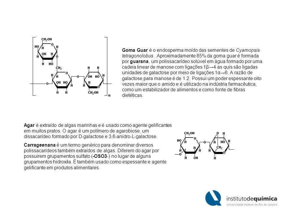 Goma Guar é o endosperma moído das sementes de Cyamopsis tetragonolobus. Aproximadamente 85% da goma guar é formada por guarana, um polissacarídeo sol