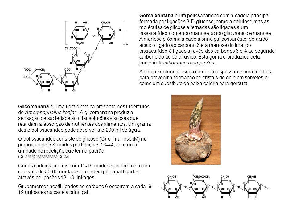 Goma xantana é um polissacarídeo com a cadeia principal formada por ligações β-D-glucose, como a celulose,mas as moléculas de glicose alternadas são l