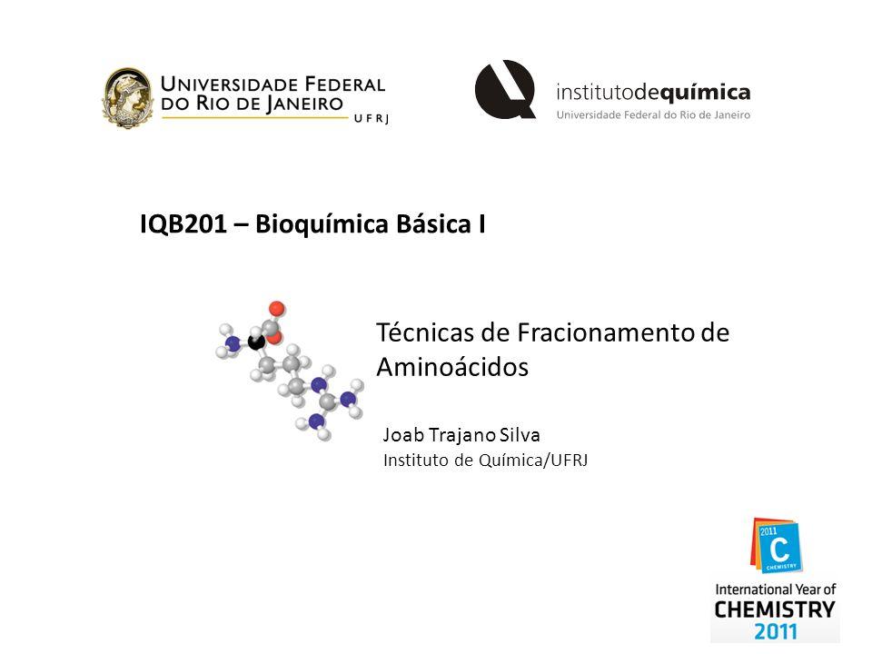 IQB201 – Bioquímica Básica I Técnicas de Fracionamento de Aminoácidos Joab Trajano Silva Instituto de Química/UFRJ