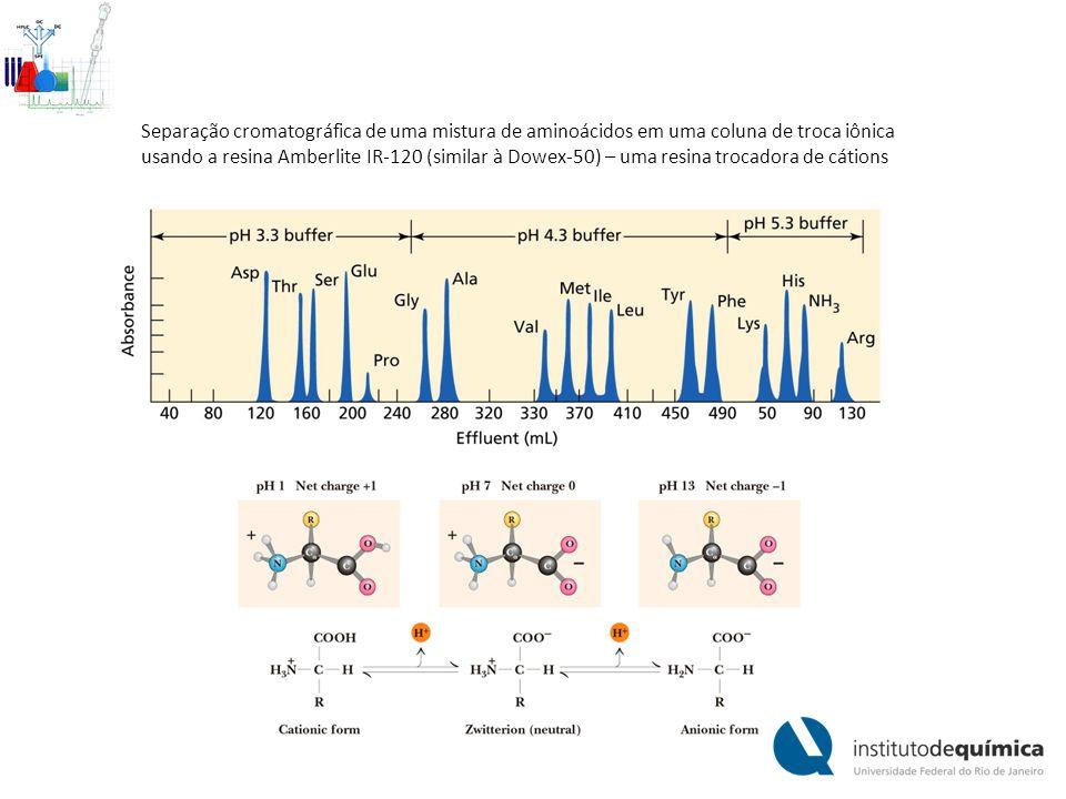 Separação cromatográfica de uma mistura de aminoácidos em uma coluna de troca iônica usando a resina Amberlite IR-120 (similar à Dowex-50) – uma resin