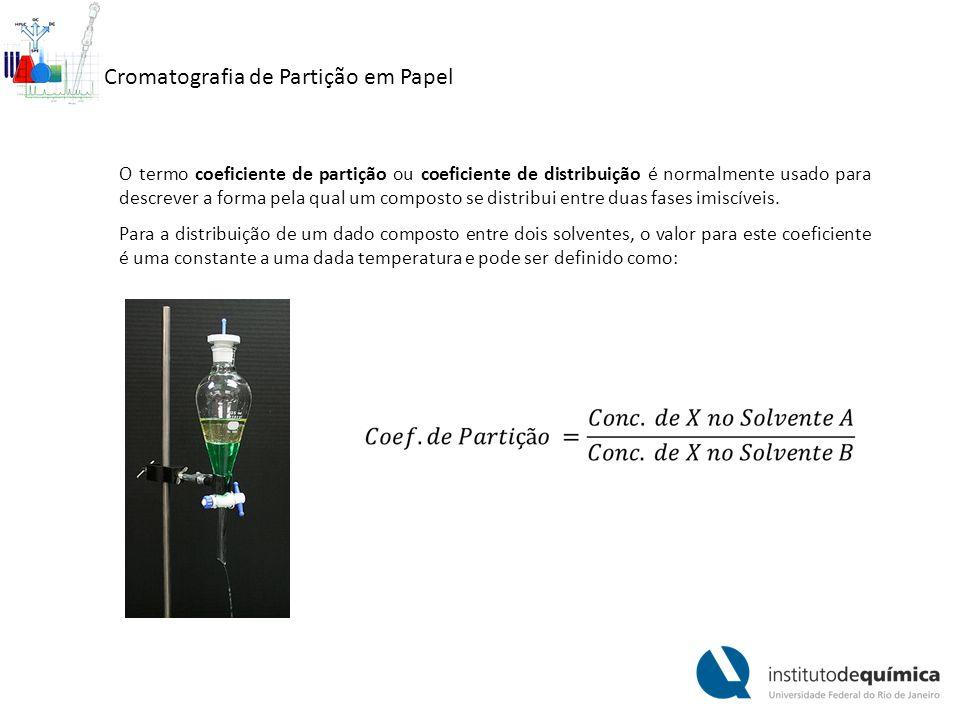 Cromatografia de Partição em Papel O termo coeficiente de partição ou coeficiente de distribuição é normalmente usado para descrever a forma pela qual