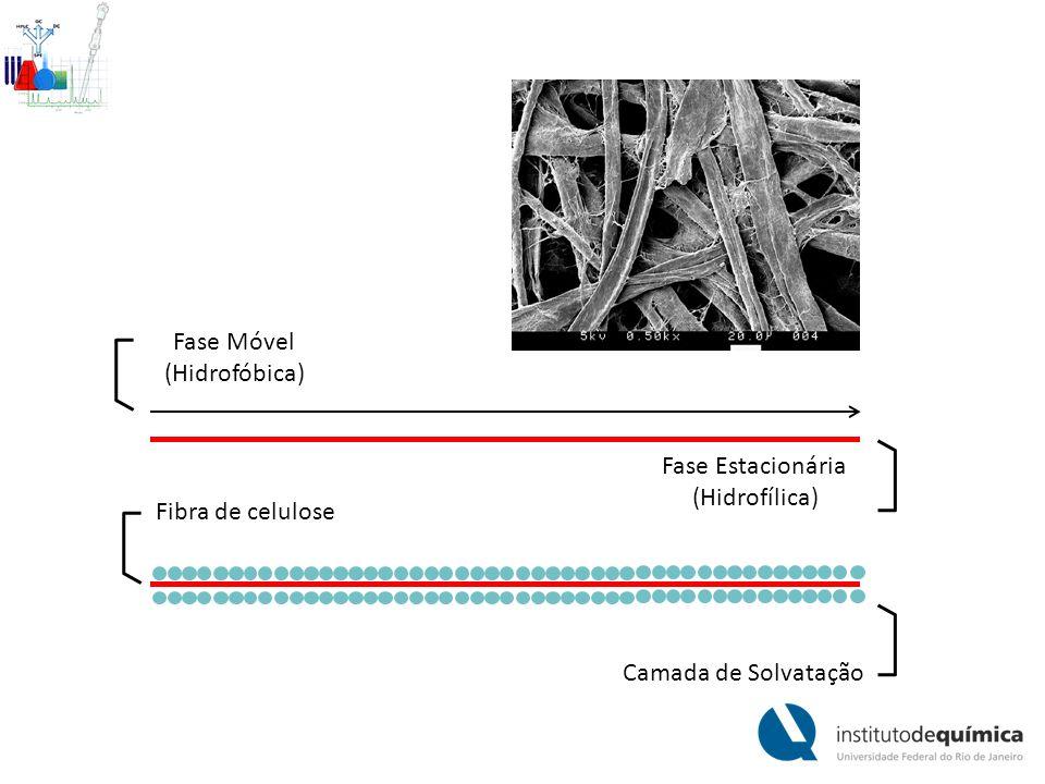Fibra de celulose Camada de Solvatação Fase Móvel (Hidrofóbica) Fase Estacionária (Hidrofílica)