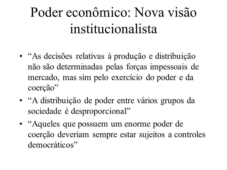 Poder econômico: Nova visão institucionalista As decisões relativas à produção e distribuição não são determinadas pelas forças impessoais de mercado,