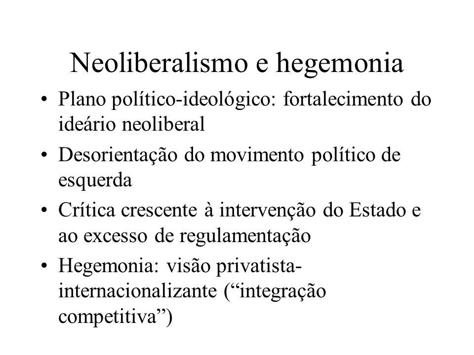 Neoliberalismo e hegemonia Plano político-ideológico: fortalecimento do ideário neoliberal Desorientação do movimento político de esquerda Crítica cre