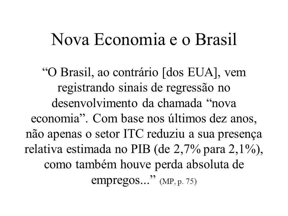 Nova Economia e o Brasil O Brasil, ao contrário [dos EUA], vem registrando sinais de regressão no desenvolvimento da chamada nova economia. Com base n