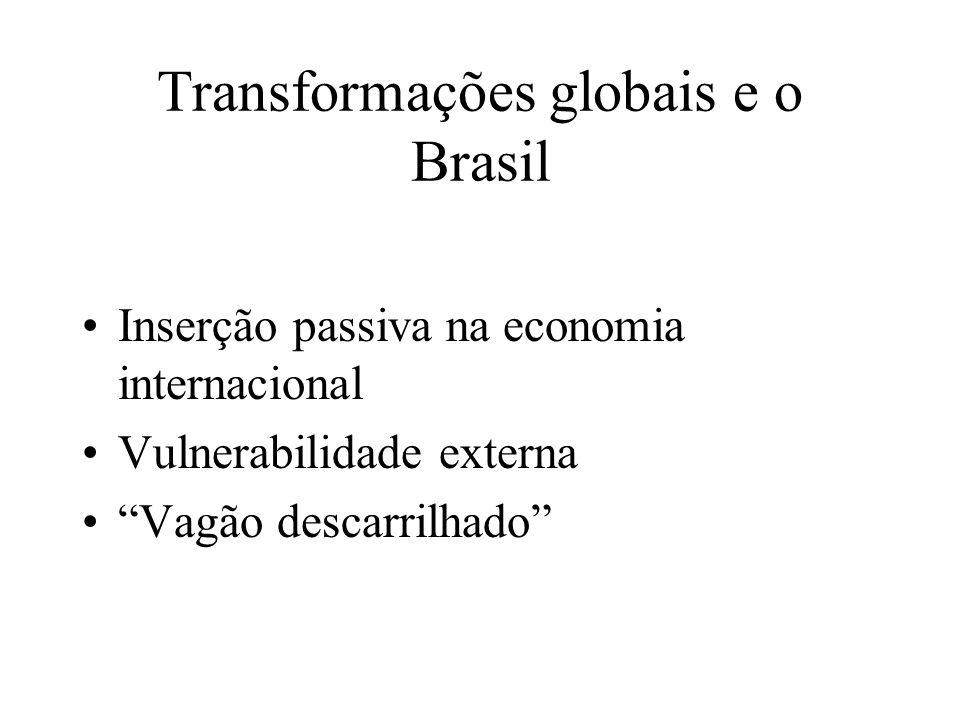 Transformações globais e o Brasil Inserção passiva na economia internacional Vulnerabilidade externa Vagão descarrilhado