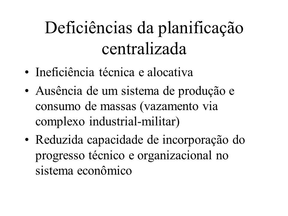 Deficiências da planificação centralizada Ineficiência técnica e alocativa Ausência de um sistema de produção e consumo de massas (vazamento via compl