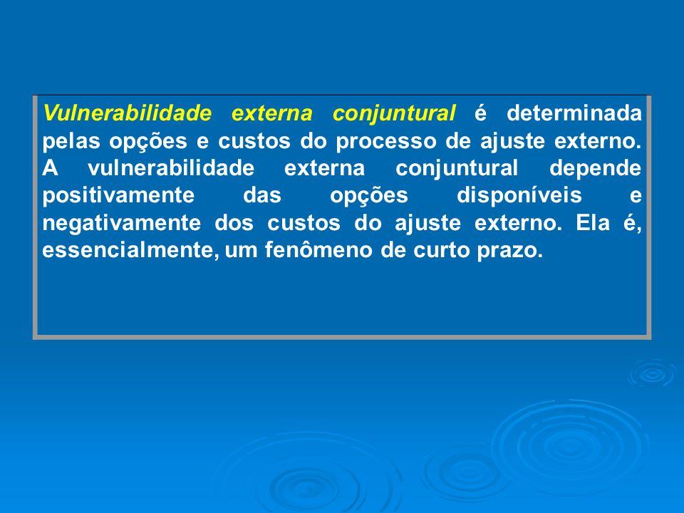 Vulnerabilidade externa conjuntural é determinada pelas opções e custos do processo de ajuste externo. A vulnerabilidade externa conjuntural depende p