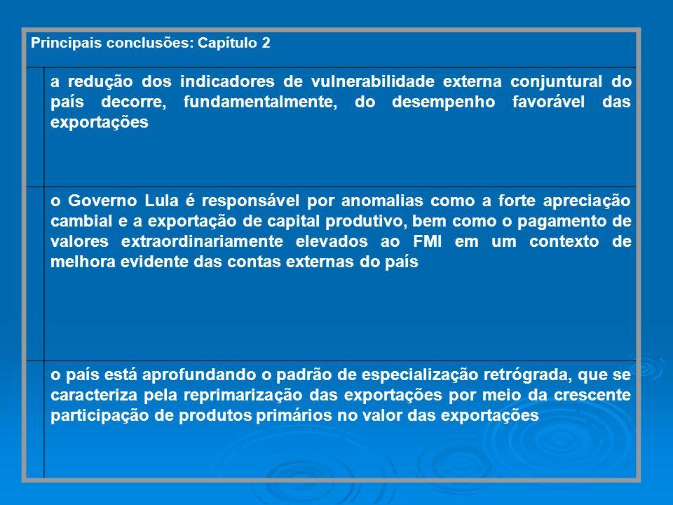 Principais conclusões: Capítulo 2 a redução dos indicadores de vulnerabilidade externa conjuntural do país decorre, fundamentalmente, do desempenho fa