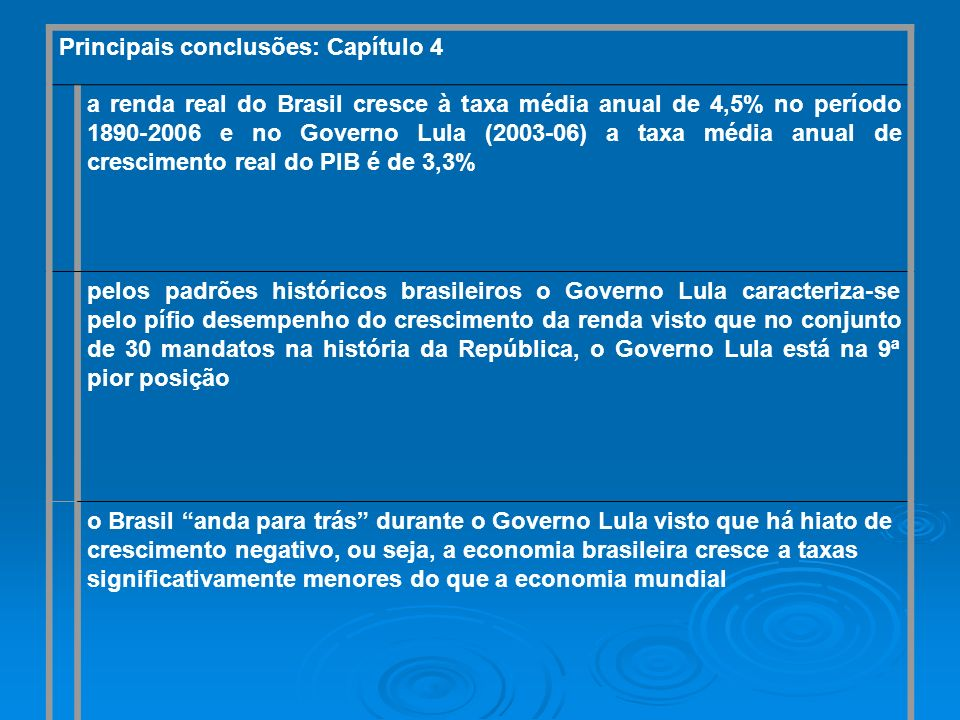 Principais conclusões: Capítulo 4 a renda real do Brasil cresce à taxa média anual de 4,5% no período 1890-2006 e no Governo Lula (2003-06) a taxa méd