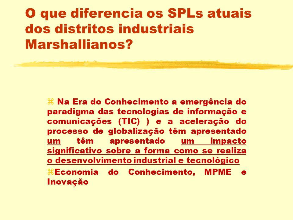 O que diferencia os SPLs atuais dos distritos industriais Marshallianos? z Na Era do Conhecimento a emergência do paradigma das tecnologias de informa