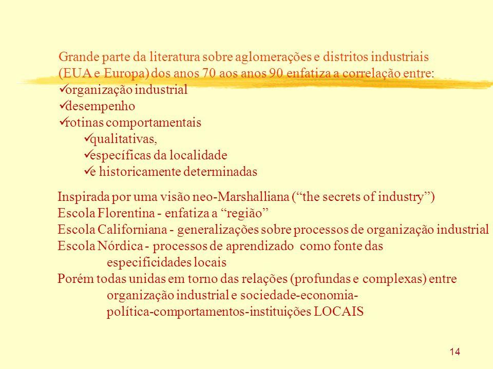 14 Grande parte da literatura sobre aglomerações e distritos industriais (EUA e Europa) dos anos 70 aos anos 90 enfatiza a correlação entre: organizaç