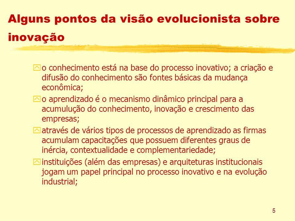 5 Alguns pontos da visão evolucionista sobre inovação yo conhecimento está na base do processo inovativo; a criação e difusão do conhecimento são font