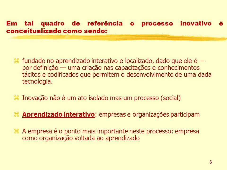 6 Em tal quadro de referência o processo inovativo é conceitualizado como sendo: zfundado no aprendizado interativo e localizado, dado que ele é por d