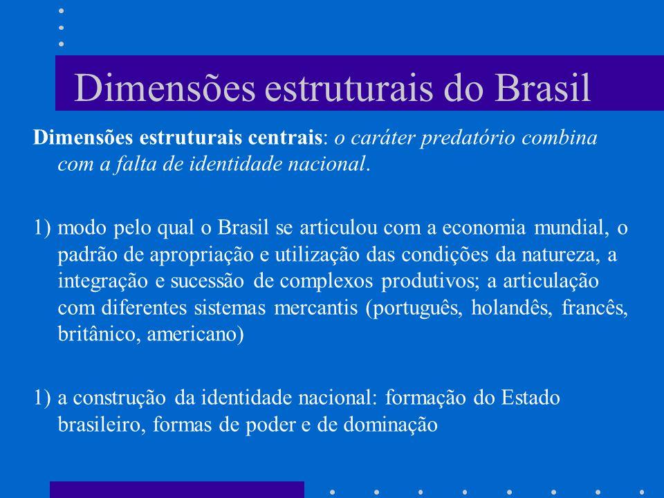 Dimensões estruturais do Brasil Dimensões estruturais centrais: o caráter predatório combina com a falta de identidade nacional. 1)modo pelo qual o Br