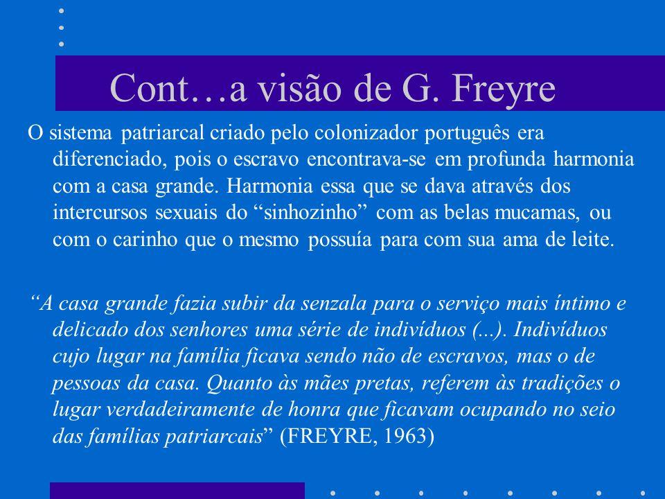Cont…a visão de G. Freyre O sistema patriarcal criado pelo colonizador português era diferenciado, pois o escravo encontrava-se em profunda harmonia c
