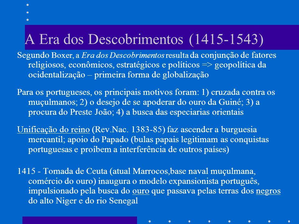 A Era dos Descobrimentos (1415-1543) Segundo Boxer, a Era dos Descobrimentos resulta da conjunção de fatores religiosos, econômicos, estratégicos e po