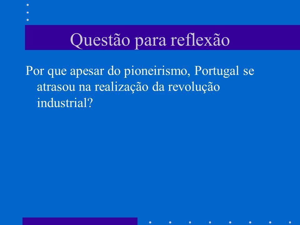 Questão para reflexão Por que apesar do pioneirismo, Portugal se atrasou na realização da revolução industrial?
