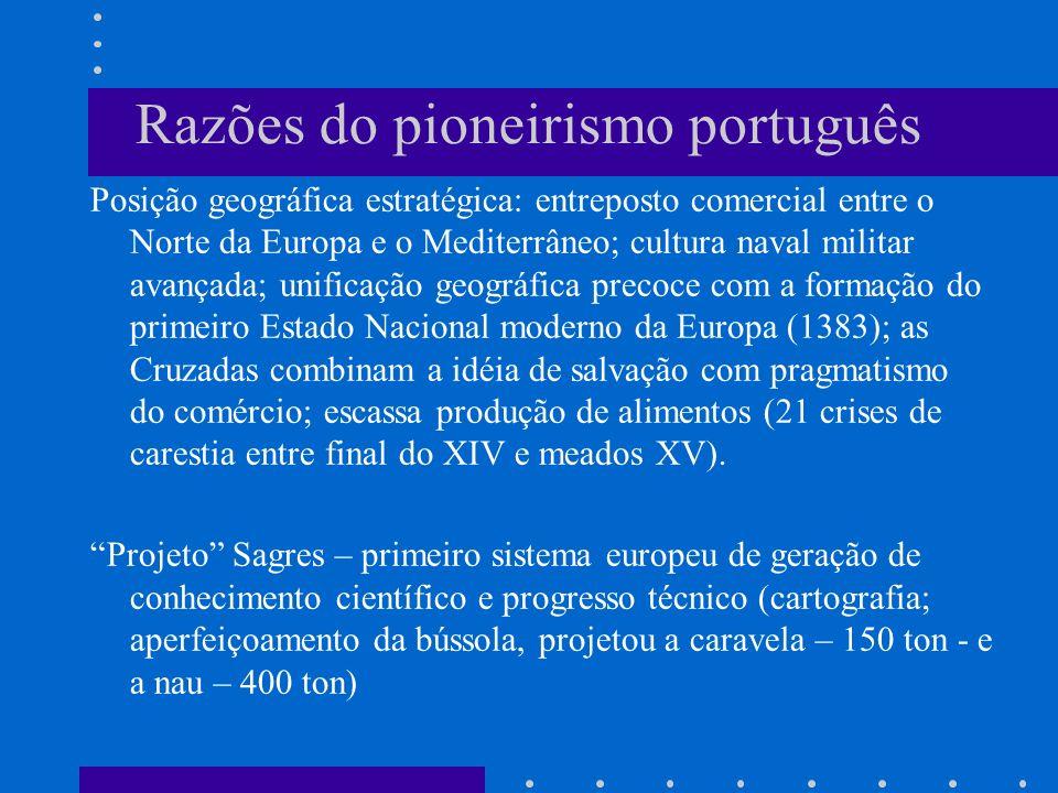 Razões do pioneirismo português Posição geográfica estratégica: entreposto comercial entre o Norte da Europa e o Mediterrâneo; cultura naval militar a