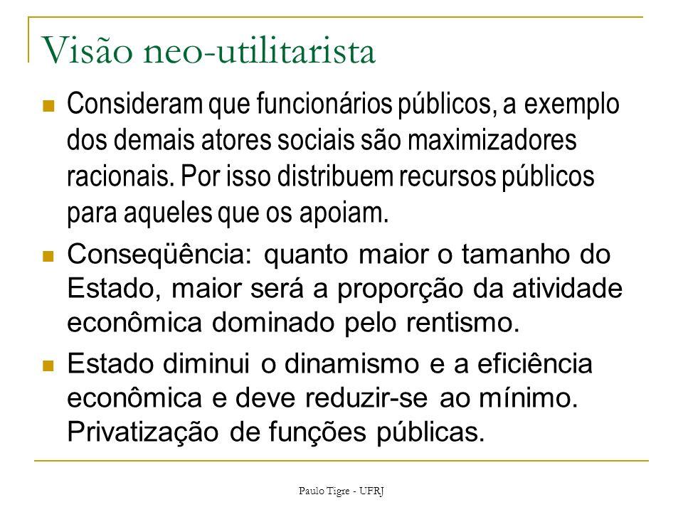 Visão neo-utilitarista Consideram que funcionários públicos, a exemplo dos demais atores sociais são maximizadores racionais.