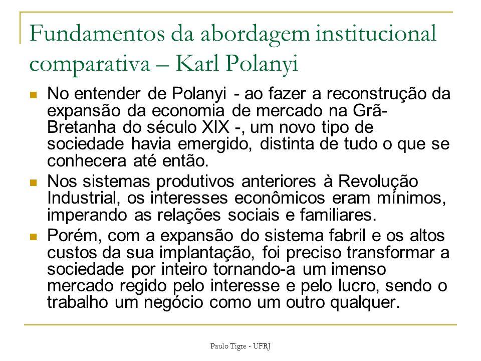 Fundamentos da abordagem institucional comparativa – Karl Polanyi No entender de Polanyi - ao fazer a reconstrução da expansão da economia de mercado na Grã- Bretanha do século XIX -, um novo tipo de sociedade havia emergido, distinta de tudo o que se conhecera até então.