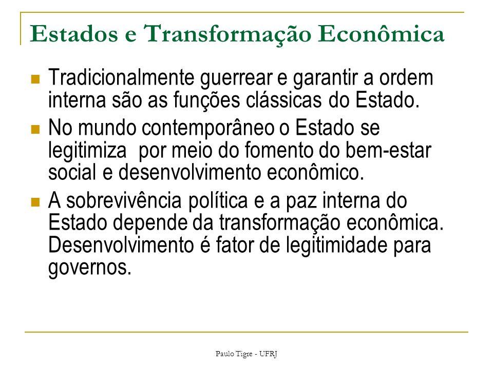 Estados e Transformação Econômica Tradicionalmente guerrear e garantir a ordem interna são as funções clássicas do Estado.