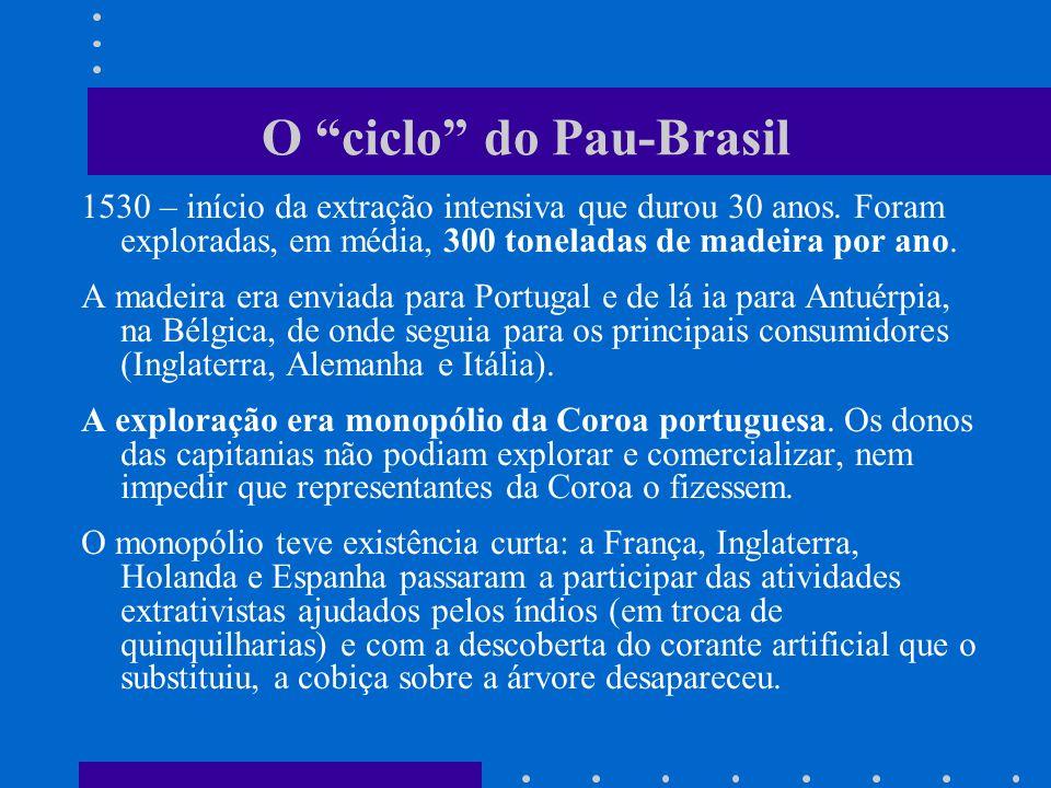 O ciclo do Pau-Brasil 1530 – início da extração intensiva que durou 30 anos. Foram exploradas, em média, 300 toneladas de madeira por ano. A madeira e