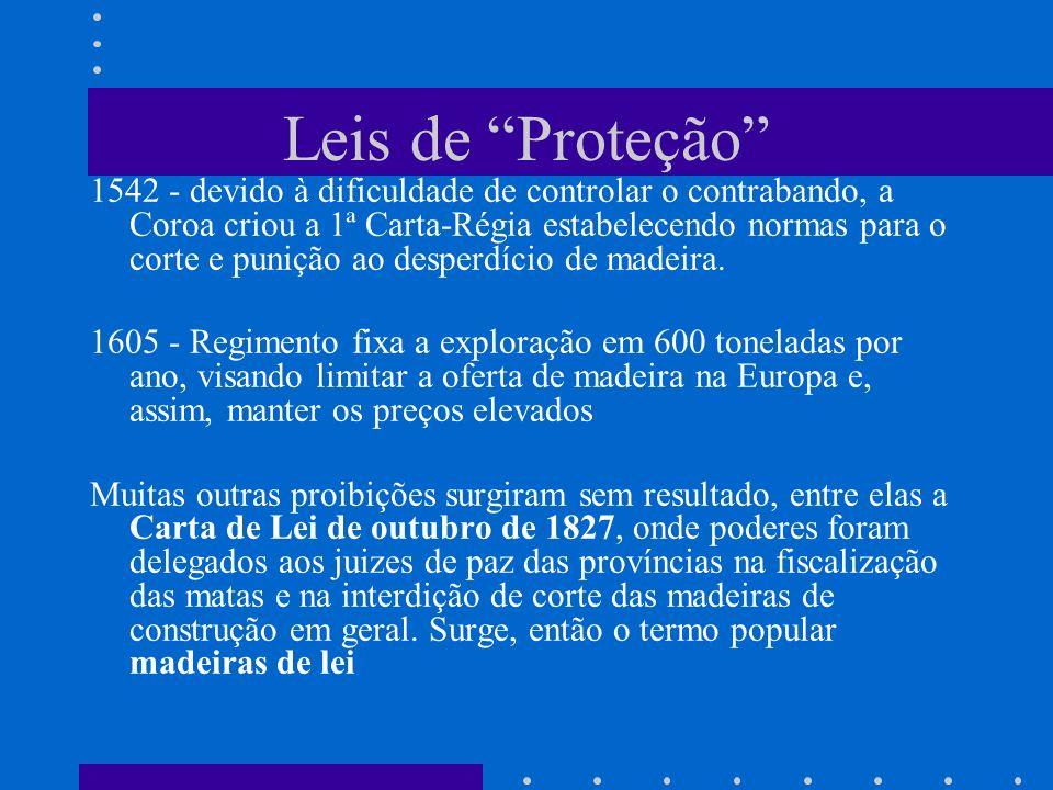Leis de Proteção 1542 - devido à dificuldade de controlar o contrabando, a Coroa criou a 1ª Carta-Régia estabelecendo normas para o corte e punição ao