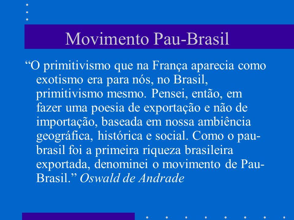 Movimento Pau-Brasil O primitivismo que na França aparecia como exotismo era para nós, no Brasil, primitivismo mesmo. Pensei, então, em fazer uma poes